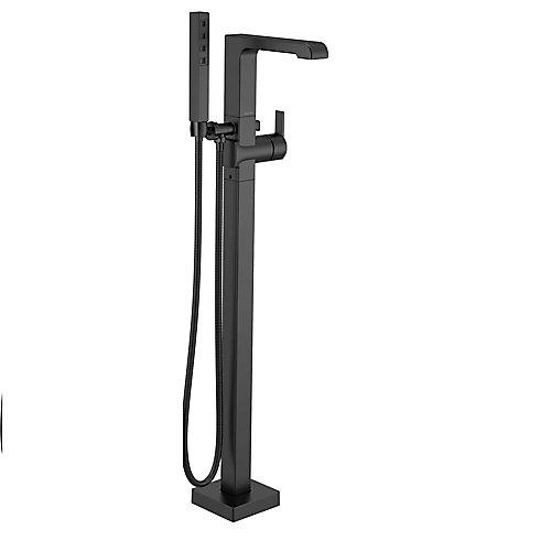 Ara One-Handle Floor Mount Tub Filler Trim with Hand Shower in Matte Black
