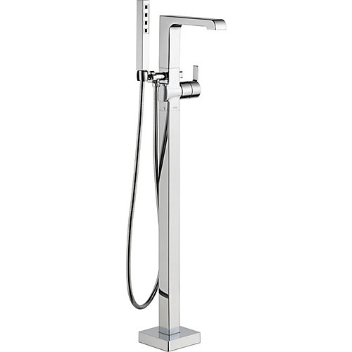 Ara One-Handle Floor Mount Tub Filler Trim Kit with Hand Shower in Chrome (Valve Not Included)