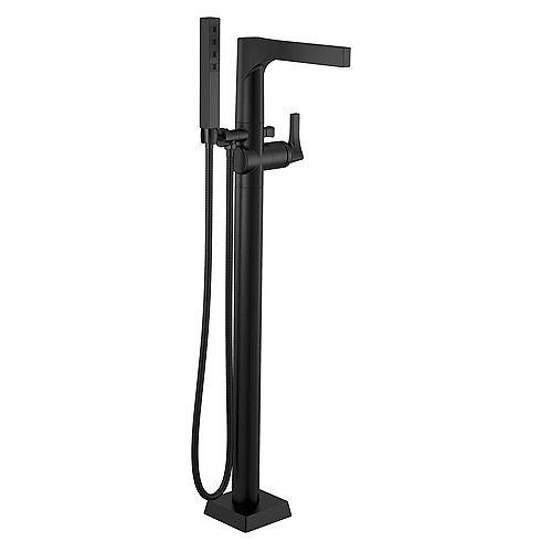 Zura One-Handle Floor Mount Tub Filler Trim with Hand Shower in Matte Black (Valve Sold Separately)