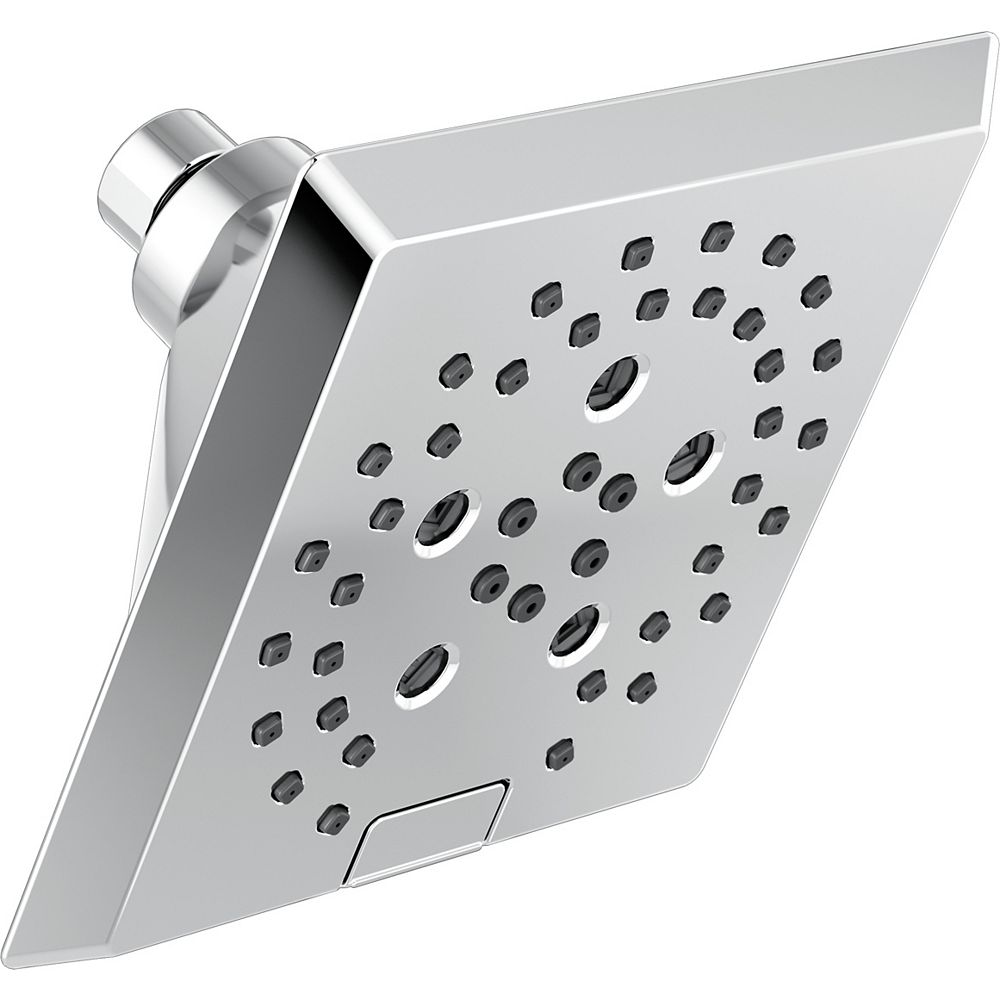 Delta H2Okinetic 5-Setting Angular Modern Raincan Shower Head in Chrome