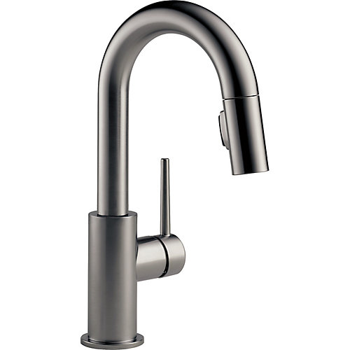 Trinsic Single Handle Pull-Down Bar/Prep Faucet in Black Stainless