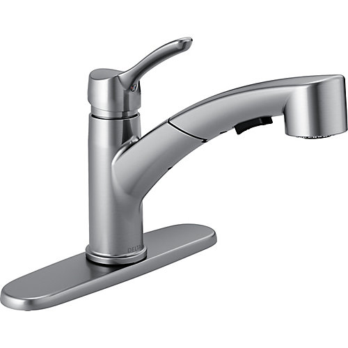 Collins Single Handle Pull-Out Kitchen Faucet, Arctic Stainless