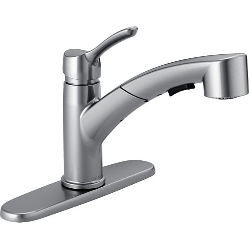 Delta Collins Single Handle Pull-Out Kitchen Faucet, Arctic Stainless