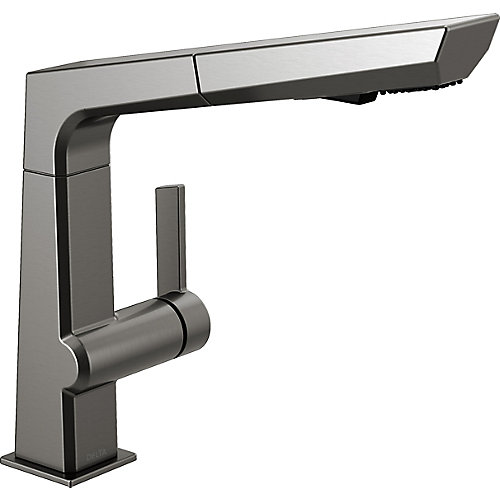 Pivotal Single-Handle Pull-Out Sprayer Kitchen Faucet in Black Stainless