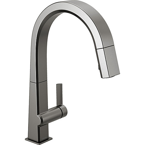 Pivotal Single-Handle Pull-Down Sprayer Kitchen Faucet with MagnaTite Docking in Black Stainless