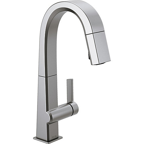 Pivotal Single Handle Pull Down Bar/Prep Faucet in Arctic Stainless