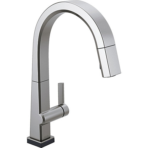Pivotal Single Handle Pull Down Kitchen Faucet with Touch2O Technology in Arctic Stainless