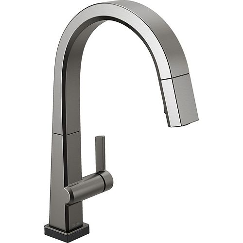 Pivotal Single Handle Pull Down Kitchen Faucet with Touch2O Technology in Black Stainless