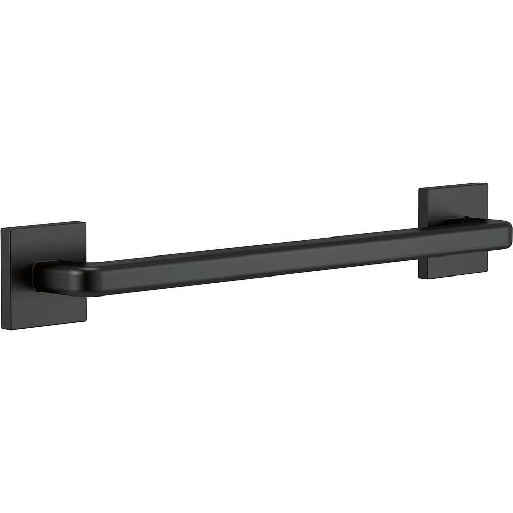 Delta Modern Angular 18-inch x 1-1/4-inch Concealed Screw ADA-Compliant Decorative Grab Bar in Matte Black