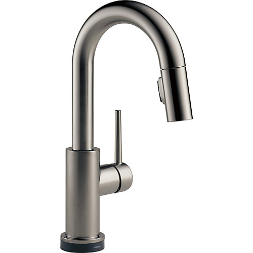Trinsic Single Handle Pull-Down Bar/Prep Faucet with Touch in Black Stainless