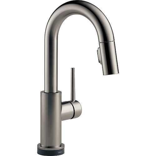 Delta Trinsic Single Handle Pull-Down Bar/Prep Faucet with Touch in Black Stainless