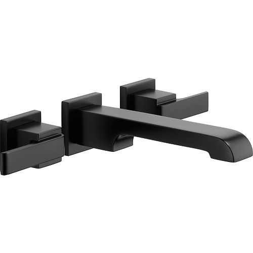 Delta Ara Two Handle Wall Mount Lavatory Faucet Trim in Matte Black (Valve Sold Separately)