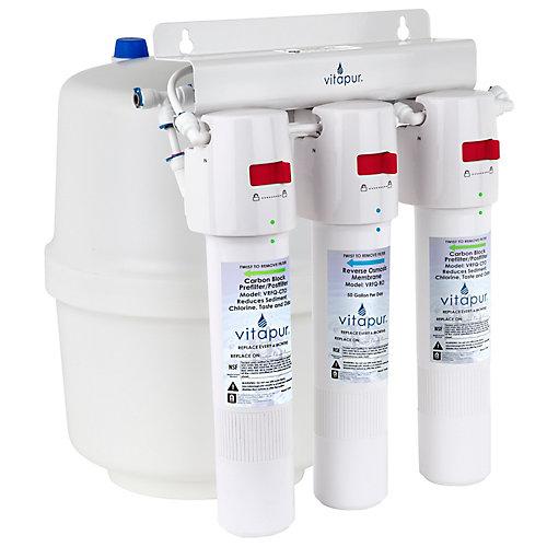 VRO-3Q Système de traitement à osmose inverse à trois étapes à connexion rapide