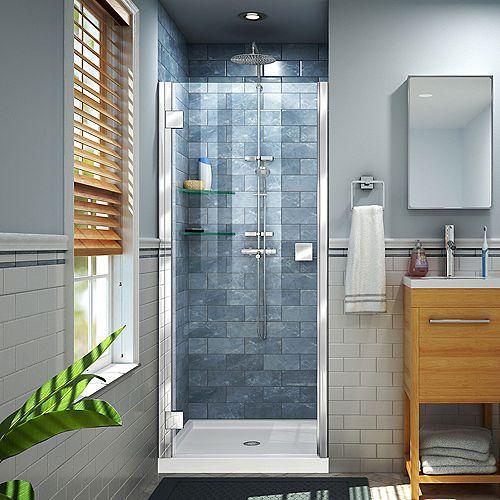 DreamLine Lumen 40-41 inch W by 72 inch H Semi-Frameless Shower Door in Chrome