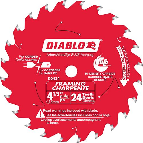 Diablo Lame de charpente 4-1/2 po x 24 Dents