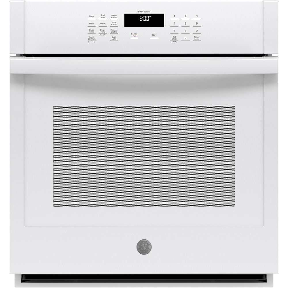 GE 27-inch Smart Single Electric Wall Oven Self-Cleaning in White