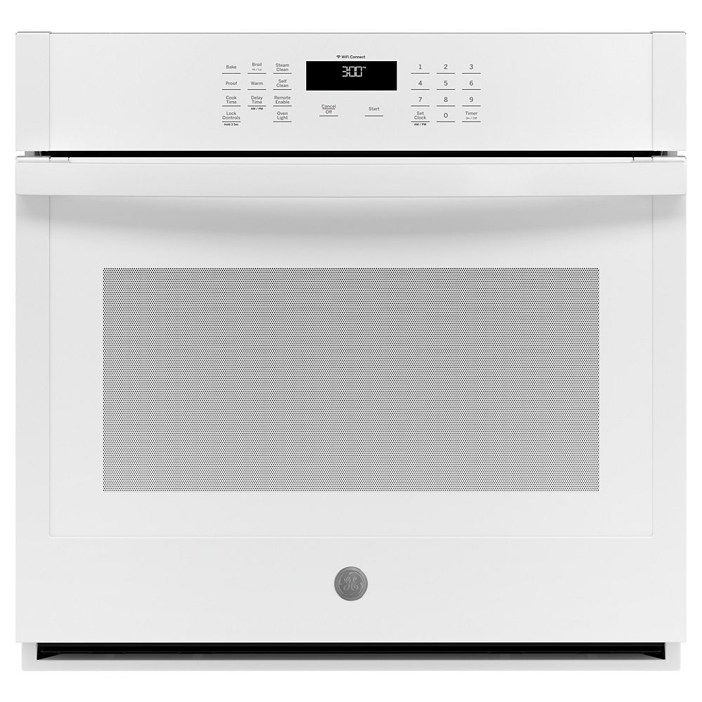 GE 30-inch Smart Single Electric Wall Oven Self-Cleaning with Steam in White