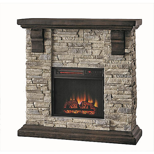Highland 40 inch Wall Mantel Electric Fireplace Mantel w/Faux Stone in Gray