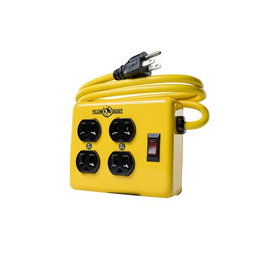 4 Outlet Power Block with 4 ft. (1.2 M) Cord, Manual Break Switch