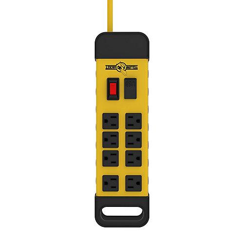 Bloc d'alimentation à 8prises Yellow Jacket avec port USB et cordon de 1,8m (6pi)