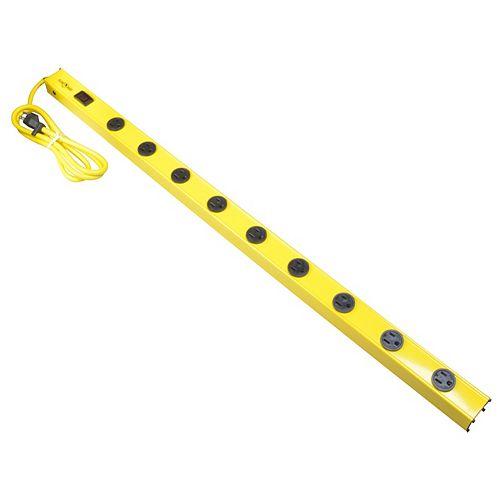 Barre d'alimentation en métal de 0,9 m (3 pi) à 9 prises Yellow Jacket avec cordon de 1,5 m (5 pi) SJT 14/3