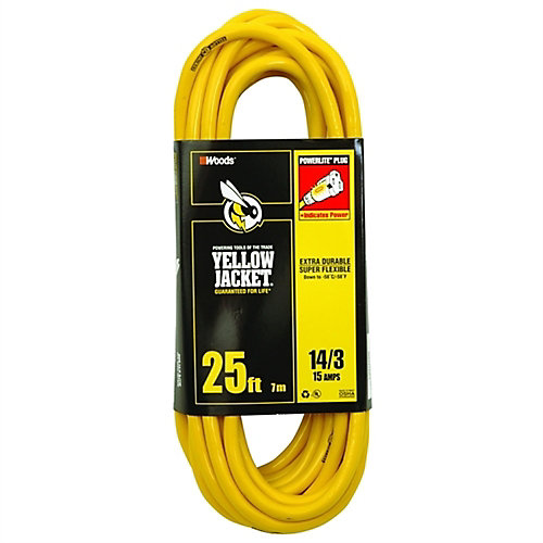 Outdoor Lighted End Extension Cord 14/3 SJTW 25 ft. (7.6 M)