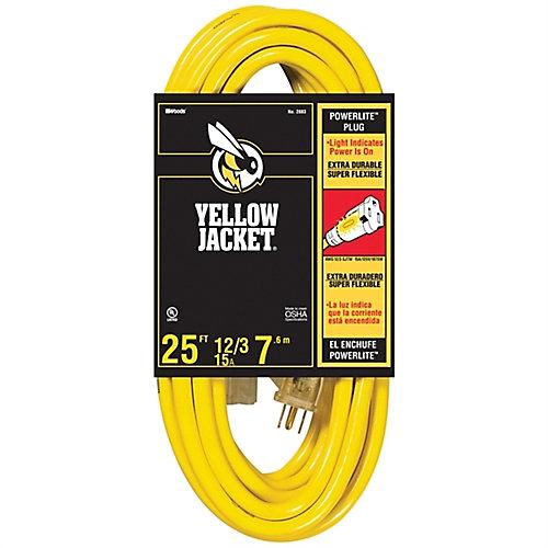 Rallonge électrique extérieure à extrémité lumineuse Yellow Jacket avec cordon SJTW 12/3 de 7,6m (25pi)