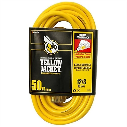 Outdoor Extension Cord 12/3 SJTW 50 ft. (15.2 M) with Lighted Power Block