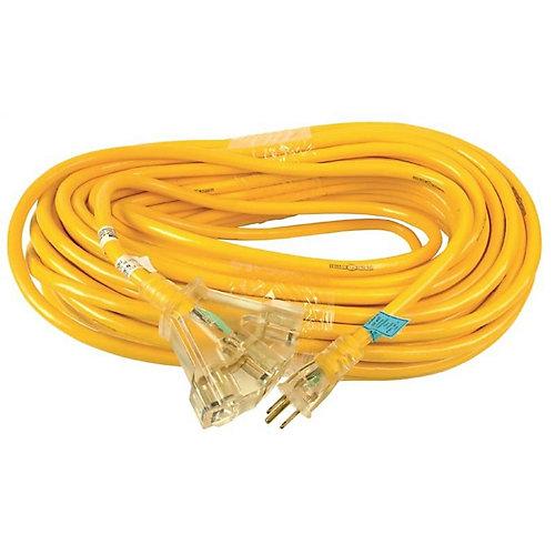Rallonge électrique extérieure Yellow Jacket avec cordon SJTW 12/3 de 30m (98,4pi) et bloc d'alimentation lumineux