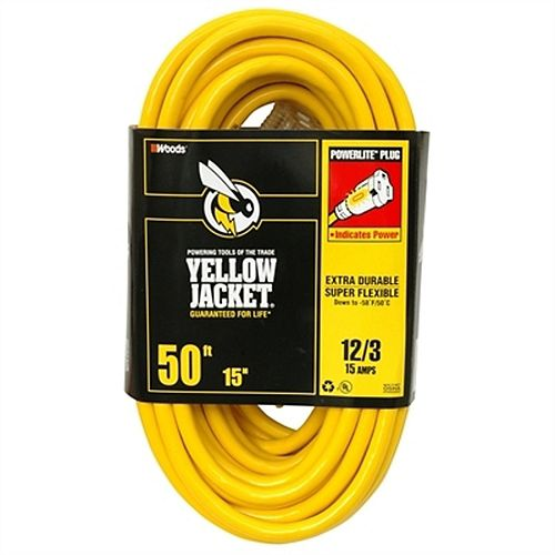 Outdoor Lighted End Extension Cord 12/3 SJTW 50 ft. (15.2 M)
