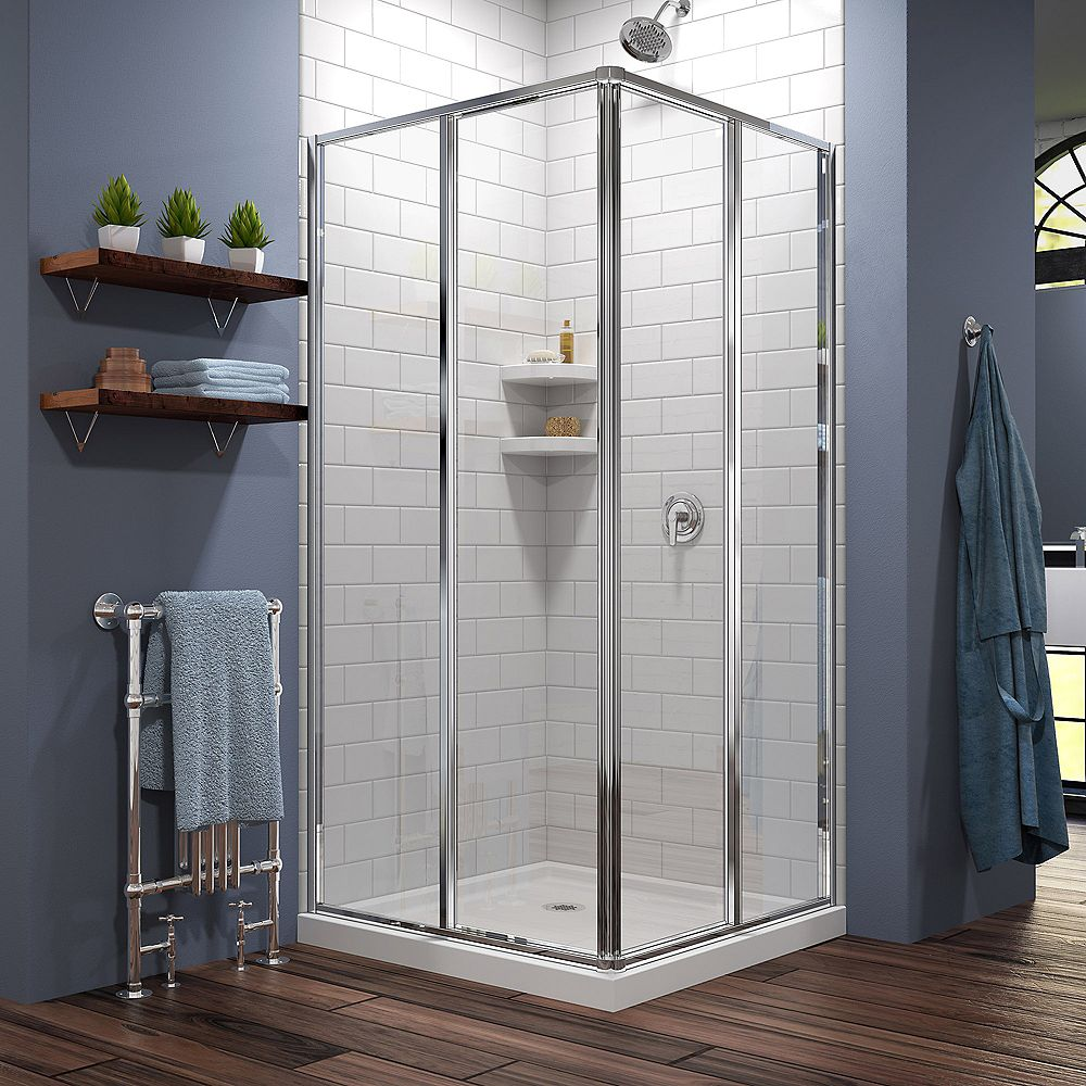 DreamLine Cornerview 42 inch D x 42 inch W inch H Framed Shower Enclosure in Chrome with White Acrylic Base Kit