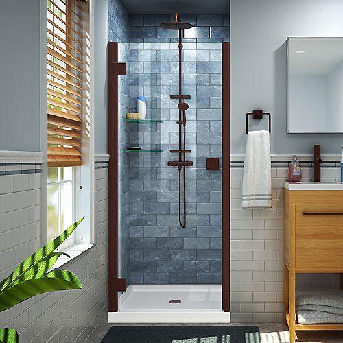 DreamLine Lumen 32 inch D x 42 inch W Shower Door in Oil Rubbed Bronze with White Acrylic Base Kit