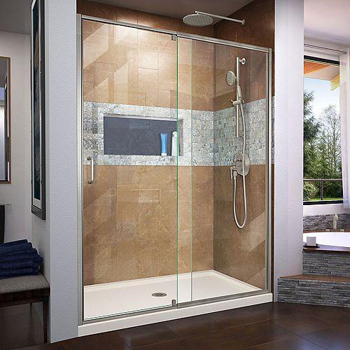 DreamLine Flex 30 inch D x 60 inch W Shower Door in Brushed Nickel with Center Drain Biscuit Base Kit