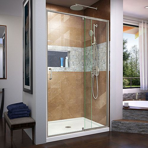 DreamLine Flex 34 inch D x 42 inch W Shower Door in Brushed Nickel with Center Drain White Base Kit