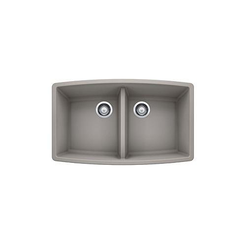 PERFORMA U 2, Equal Double Bowl Undermount Kitchen Sink, SILGRANIT Concrete Gray
