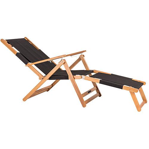 Beach Chair with Leg Rest- Black
