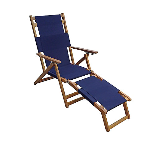 Beach Chair with Leg Rest-  Blue
