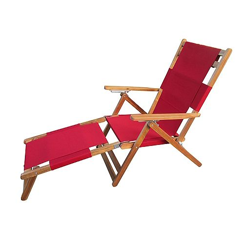 Portable Lounge Chair with Leg Rest in Red