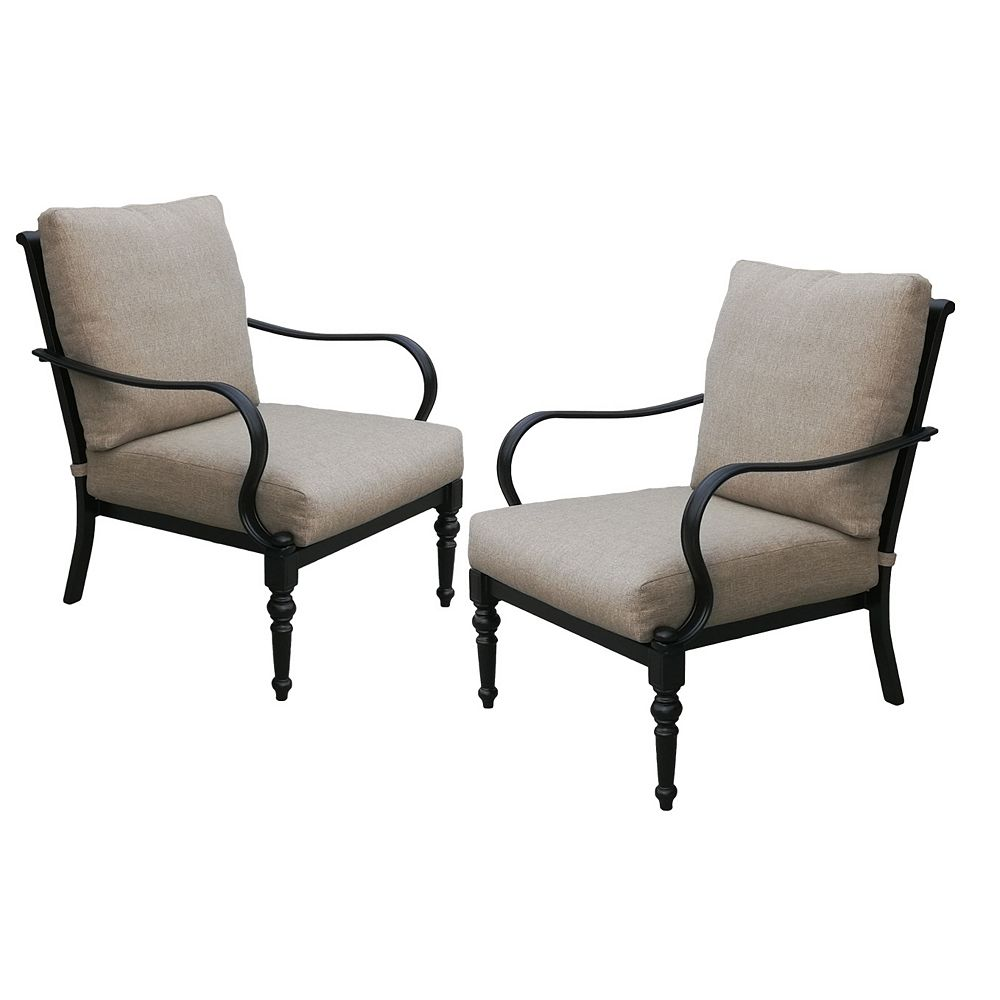 Patioflare Cast Aluminum Chair With Sunbrella Cushion Pack of 2
