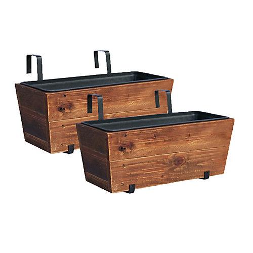 Jardinière de terrasse en bois recyclé   Emballage de 2  Brun délavé