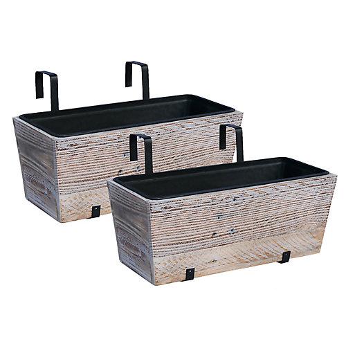 Jardinière pour terrasse en bois recyclé   Emballage de 2  Blanc délavé