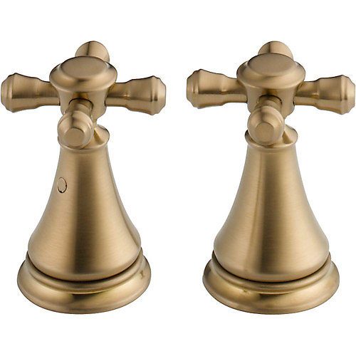 Cassidy Metal Cross Handle Set - Deck Mount Lavatory and Bidet, Champagne Bronze