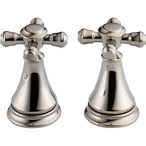 Cassidy Metal Cross Handle Set - Deck Mount Lavatory and Bidet, Polished Nickel