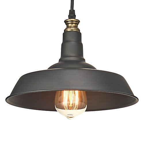 1-Light Barnyard Pendant with Metal Shade and 3 ft. Cord, Black Finish and Antique Brass Details