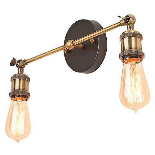 Applique murale orientable à deux lumières avec ampoules apparentes, fini laiton/bronze antique
