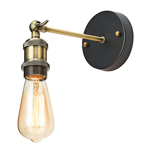 1-Light Adjustable Sconce with Exposed Bulb, Antique Brass Finish