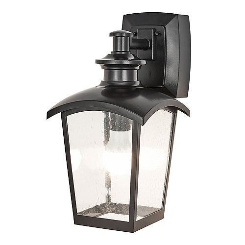 1-Light Outdoor Wall Lantern With Seeded Glass and Built-In GFCI Outlets, Black Finish