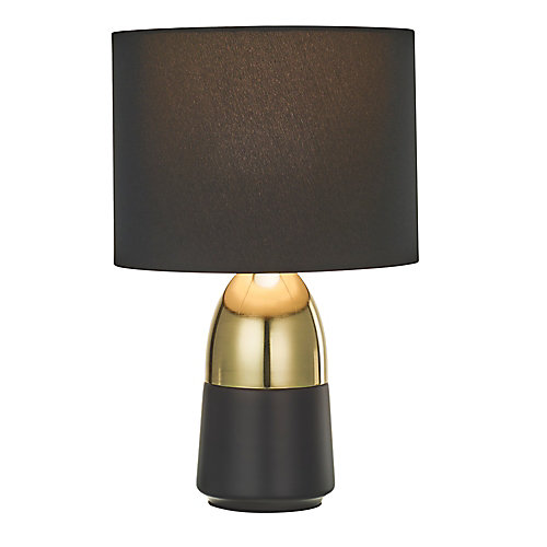 Two-Tone Accent Lamp with Black Shade, Polished Gold and Matte Black Finish, 2-Pack