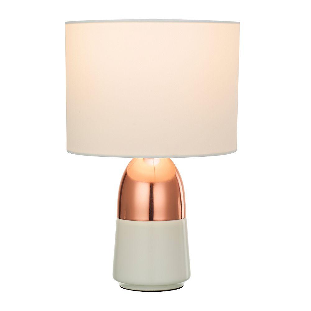 Home Luminaire Lampe d'appoint bicolore avec abat-jour blanc, fini or rose brillant et blanc mat, ensemble de deux