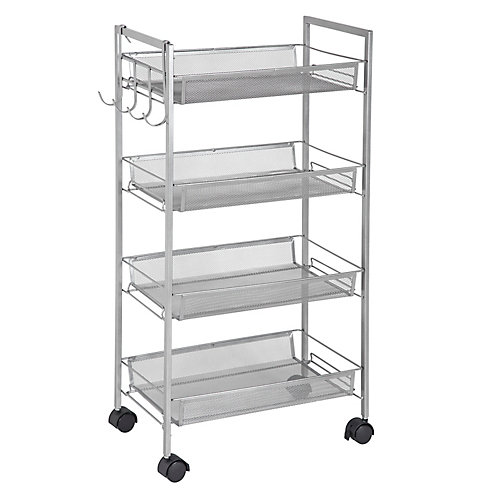4-Tier Mobile Storage Cart with Side Hooks